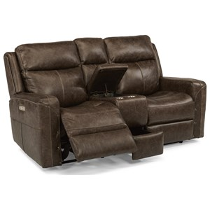 Power Reclining Console Love Seat with Power Headrest and USB Ports