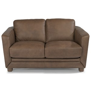 Contemporary Loveseat with Sloped Track Arms
