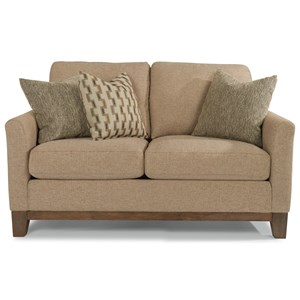 Transitional Loveseat with Exposed Wood Base Rail