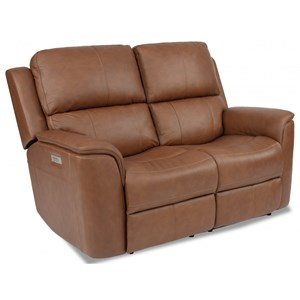 Casual Power Reclining Loveseat with Power Headrest and Power Lumbar Support