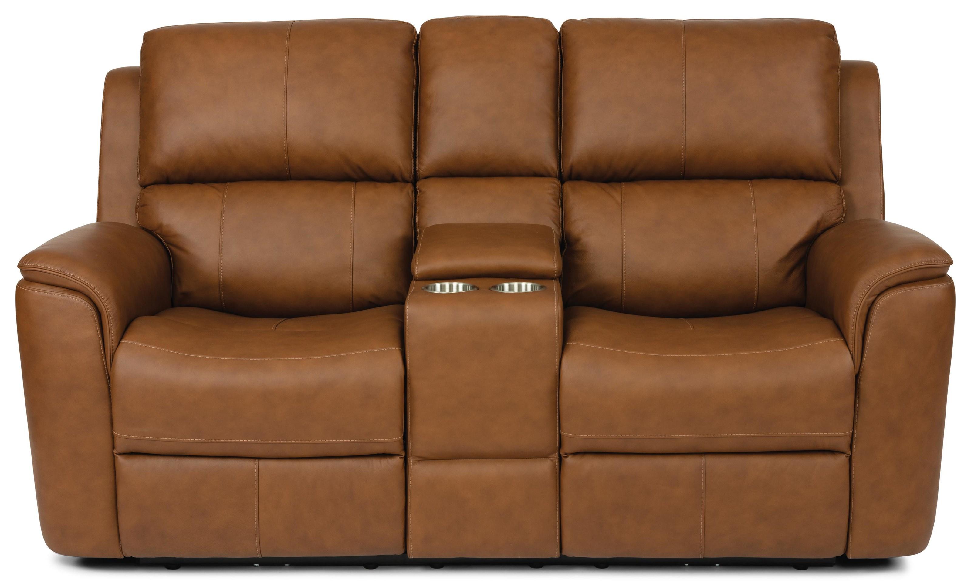 Aarons Power Headrest & Lumbar Reclining Console by Flexsteel at Crowley Furniture & Mattress