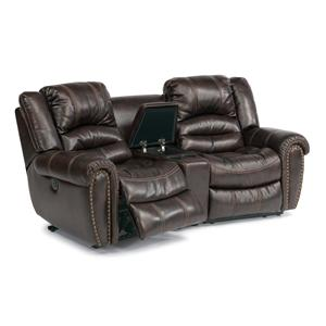 Flexsteel Latitudes - Hometown Dual Power Recline Loveseat w/ Console