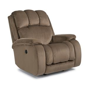 Casual Power Rocking Recliner with Plush Padded Arms and Headrest