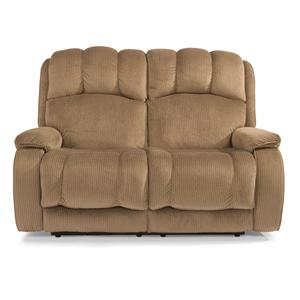 Casual Power Reclining Loveseat with Plush Padded Arms and Headrest