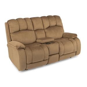 Casual Power Reclining Loveseat with Plush Padded Headrest and Storage Console
