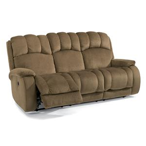 Casual Power Reclining Sofa with Plush Padded Arms and Headrest