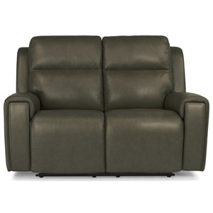 Contemporary Power Reclining Love Seat with Power Headrest and USB Port