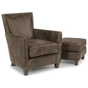 Contemporary Leather Chair and Ottoman Set