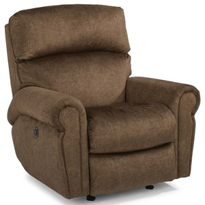 Casual Power Rocking Recliner with Power Headrests and Single USB Port