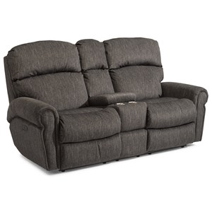 Casual Power Reclining Love Seat with Power Headrests, Storage Console and Cup Holders