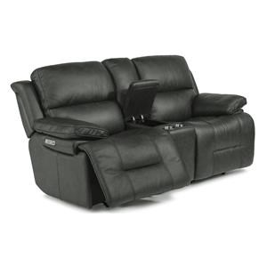 Casual Power Reclining Loveseat with Storage Console and Power Headrest