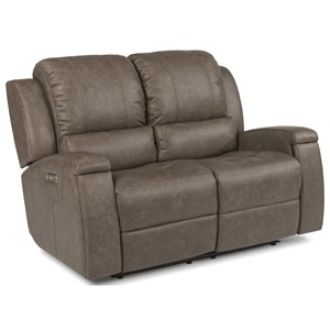 Contemporary Power Reclining Love Seat with Power Headrest