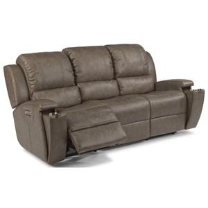 Contemporary Power Reclining Sofa with Power Headrest