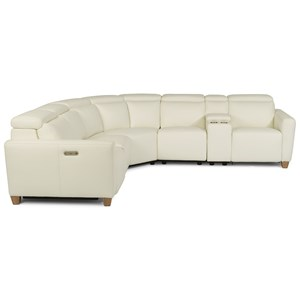 Contemporary Six Piece Power Reclining Sofa with Power Tilt Headrests and USB Charging Ports