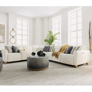 Contemporary Seven Piece Power Reclining Sofa with Power Tilt Headrests and USB Charging Ports