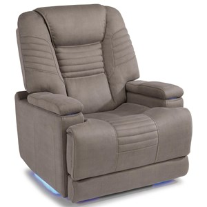 Casual Contemporary Power Layflat Recliner with Power Headrest and Hidden Cup Holders