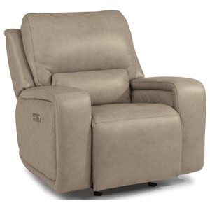 Contemporary Power Gliding Recliner with Power Headrest