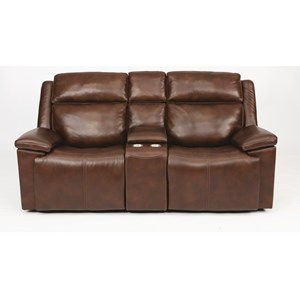 Power Reclining Loveseat with with Power Headrest, Hidden Cup Holders, and USB Ports