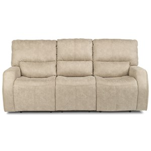 Contemporary Power Reclining Sofa with Power Headrests and USB Port
