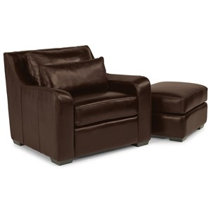 Transitional Chair and Ottoman Set with Slanted Track Arms