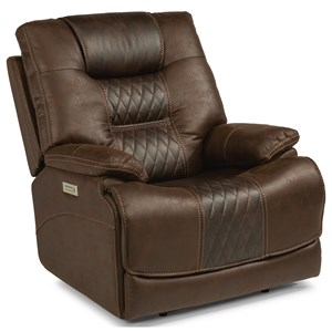 Casual Contemporary Power Lay-Flat Recliner with Power Headrest and Lumbar
