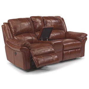 Casual Power Reclining Love Seat with Drink Holder and Storage Console