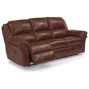 Casual Power Reclining Sofa with Contrast Stitching