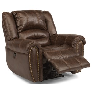 Transitional Gliding Recliner with Nailhead Trim