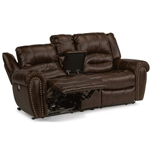 Transitional Power Reclining Love Seat with Console and Cup Holders