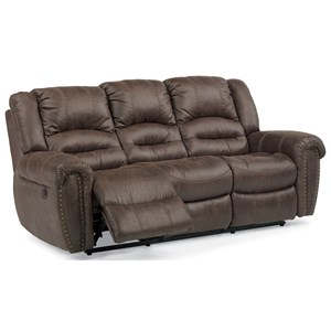 Transitional Power Reclining Sofa with Power Headrests