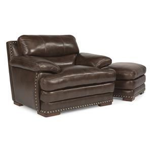 Flexsteel Latitudes - Dylan Leather Chair & Ottoman w/ Nailheads