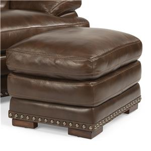 Flexsteel Latitudes - Dylan Leather Ottoman w/ Nailheads