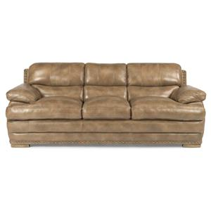 Flexsteel Latitudes - Dylan Stationary Leather Sofa w/ Nailheads