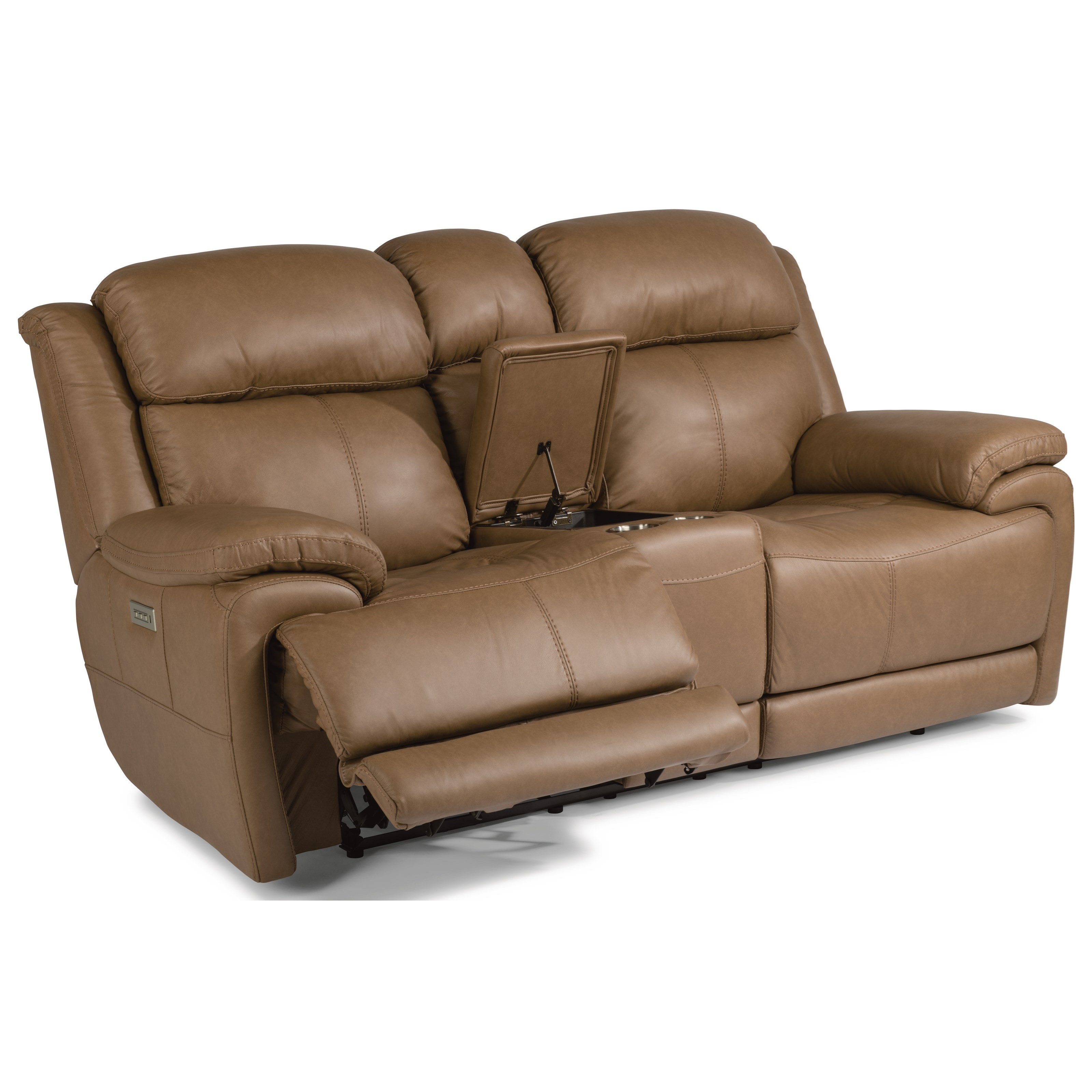 Latitudes - Elijah Power Reclining Loveseat with Console by Flexsteel at Zak's Home
