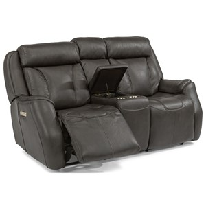 Contemporary Power Reclining Loveseat with Console and Power Headrest
