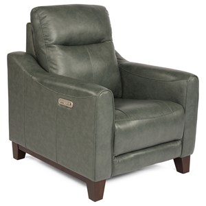 Contemporary Power Recliner with Power Headrest and USB Port
