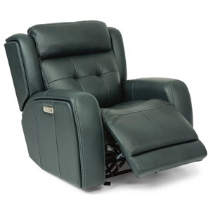 Transitional Power Glider Recliner with Power Headrest and USB Port