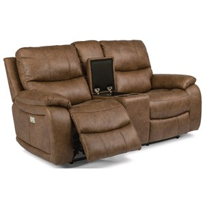 Power Reclining Love Seat with Console and Power Headrest