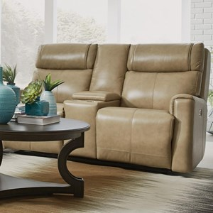 Contemporary Power Reclining Console Loveseat with Power Headrest and USB Ports