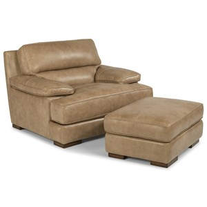 Casual Contemporary Leather Chair and Ottoman Set
