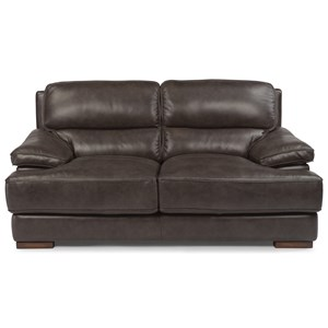 Casual Contemporary Leather Love Seat
