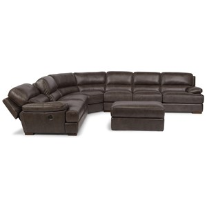 Casual Contemporary Power Back Reclining Sectional and Ottoman with USB Port