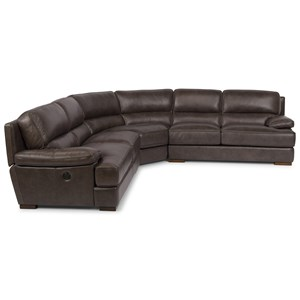 Casual Contemporary Power Back Reclining Sectional with USB Port