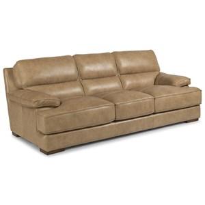 Casual Contemporary Leather Sofa