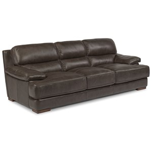 Casual Contemporary Leather Sofa