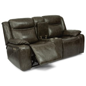 Power Reclining Loveseat with Console & Power Headrests