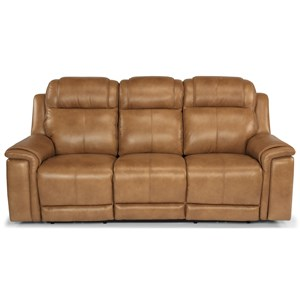 Casual Lay-Flat Power Reclining Sofa with Power Headrest and Lumbar