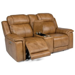 Casual Lay-Flat Power Reclining Console Loveseat with Power Headrest and Lumbar