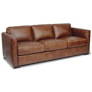 Contemporary 3-Seat Leather Sofa with Hidden Drop Down Console and USB Ports