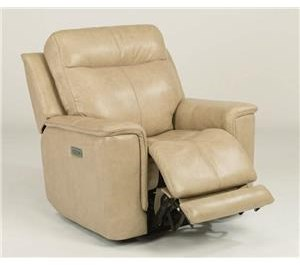 Leather Power Lay-Flat Recliner with Power Headrest & Lumbar